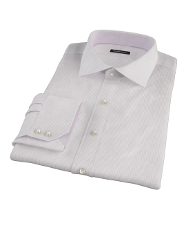 140s Lavender Wrinkle Resistant Stripe Fitted Shirt 