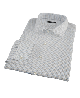 Coffee &amp; Blue Check Fitted Dress Shirt 