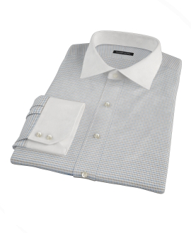 Coffee &amp; Blue Check Fitted Shirt 