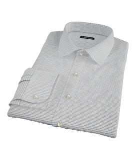 Coffee & Blue Check Fitted Dress Shirt