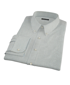 Green and Blue Check Fitted Dress Shirt
