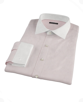 Pink University Stripe Pinpoint Fitted Dress Shirt