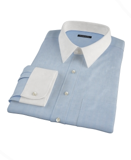 Light Blue Herringbone Custom Made Shirt