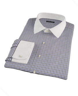 Blue and Black Gingham Twill Dress Shirt