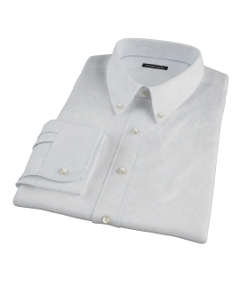 140s Light Blue Wrinkle Resistant Fine Grid Fitted Shirt