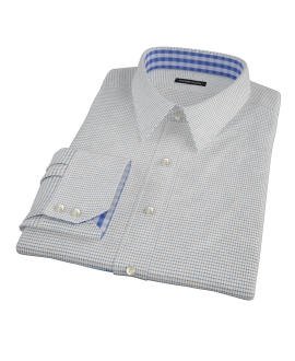 Coffee & Blue Check Custom Made Shirt