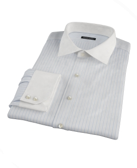 Albini Light Blue Satin Stripe Fitted Dress Shirt