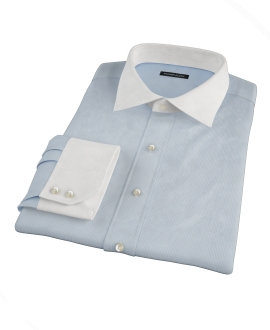 Albini Light Blue Mini Check Custom Dress Shirt 