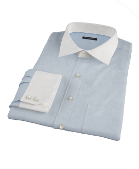 Albini Light Blue Mini Check Tailor Made Shirt