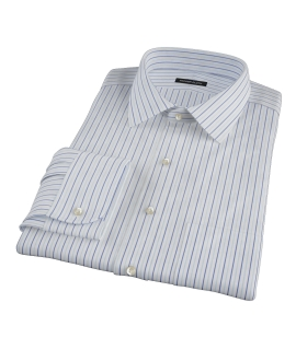 Chambers Wrinkle-Resistant Navy Light Blue Stripe Dress Shirt 