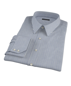 Navy and Green Pinstripe Fitted Dress Shirt