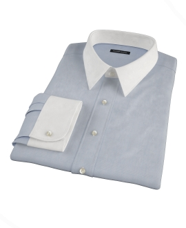 Light Blue Glen Plaid Fitted Dress Shirt