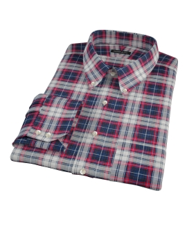 Navy Red Large Plaid Men's Dress Shirt