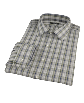 Green and Blue Plaid Men's Dress Shirt