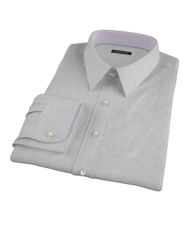 Charcoal End-on-End Stripe Men's Dress Shirt 