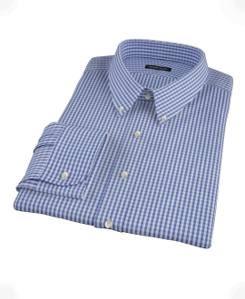 Small Blue Japanese Gingham Fitted Dress Shirt