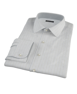 Light Blue Gray Dobby Stripe Custom Dress Shirt