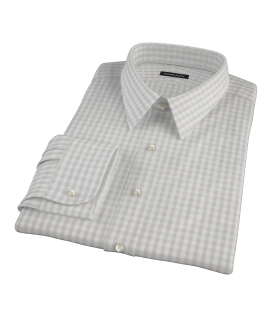 Pale Gray Gingham Fitted Shirt
