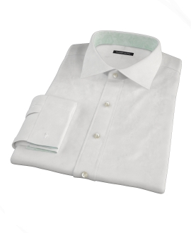 White 140s Broadcloth Fitted Shirt
