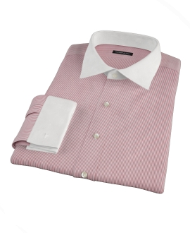 100s Red University Stripe Dress Shirt