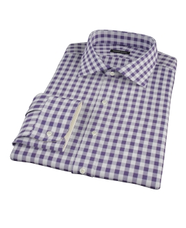 Eggplant Large Gingham Fitted Shirt 