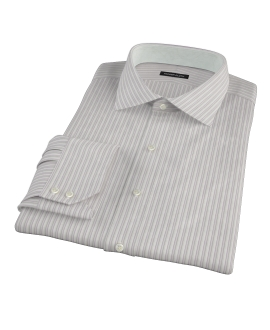 Japanese Lavender and Gray Stripe Fitted Dress Shirt