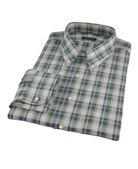 Green Brushed Twill Plaid Dress Shirt