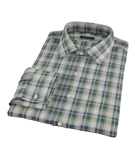 Green Brushed Twill Plaid Men's Dress Shirt