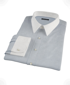 Stormy Light Blue Pinpoint Fitted Shirt 
