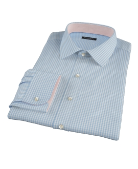 Small Light Blue Japanese Gingham Fitted Shirt 