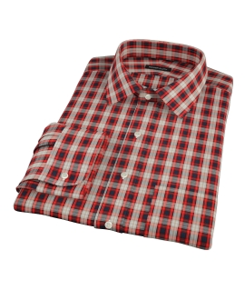 Mandarin Orange Plaid Tailor Made Shirt 