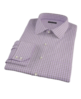 Lavender and Brown Mini Gingham Dress Shirt 