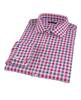Red and Navy Large Gingham Fitted Dress Shirt