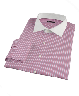 Cranberry and Blue Multi-Stripe Custom Dress Shirt