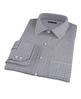Blue and Black Gingham Twill Fitted Shirt