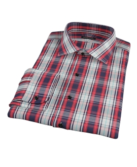 Large Red and Blue Plaid Men's Dress Shirt 