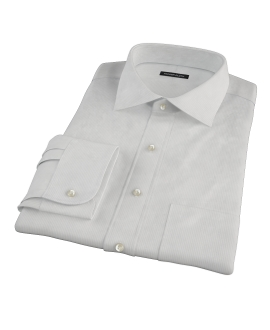 100s Pale Gray Stripe Fitted Shirt