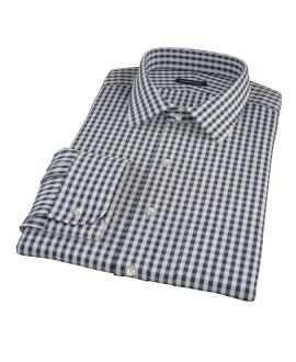 Dark Navy Gingham Men's Dress Shirt