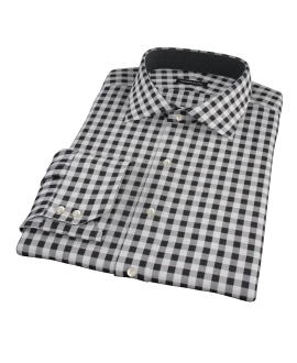 Black Large Gingham Fitted Shirt