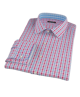 Light Blue and Red Gingham Custom Made Shirt