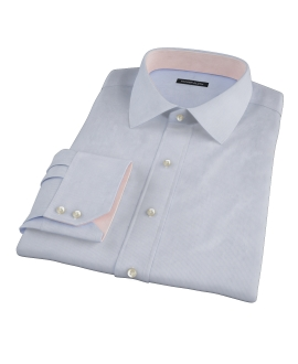 Albini Blue White Fine Stripe Fitted Shirt 