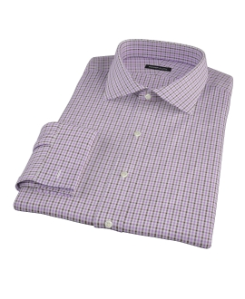 Lavender and Brown Mini Gingham Fitted Dress Shirt