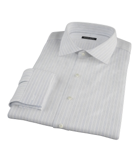 Blue and Green Stripe Men's Dress Shirt