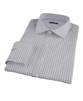Light Blue and Brown Mini Gingham Custom Made Shirt