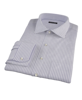 Thomas Mason Purple Stripe Oxford Fitted Dress Shirt 