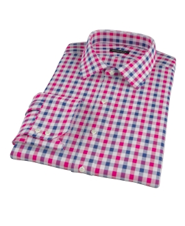 Red and Navy Multi Gingham Custom Dress Shirt 