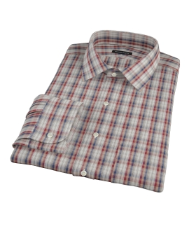 Maroon and Blue Plaid Fitted Shirt