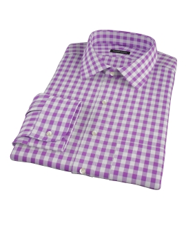 Lavender Large Gingham Men's Dress Shirt