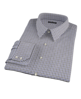 Blue and Black Gingham Twill Fitted Dress Shirt 