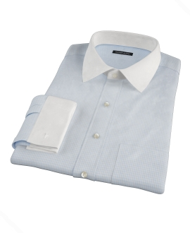 100s Pale Blue Mini Gingham Custom Made Shirt